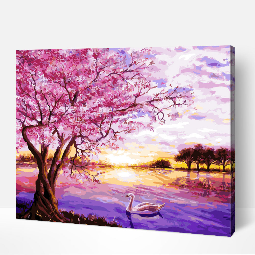 Pink Blossoms - Paint By Numbers Kit For Adult