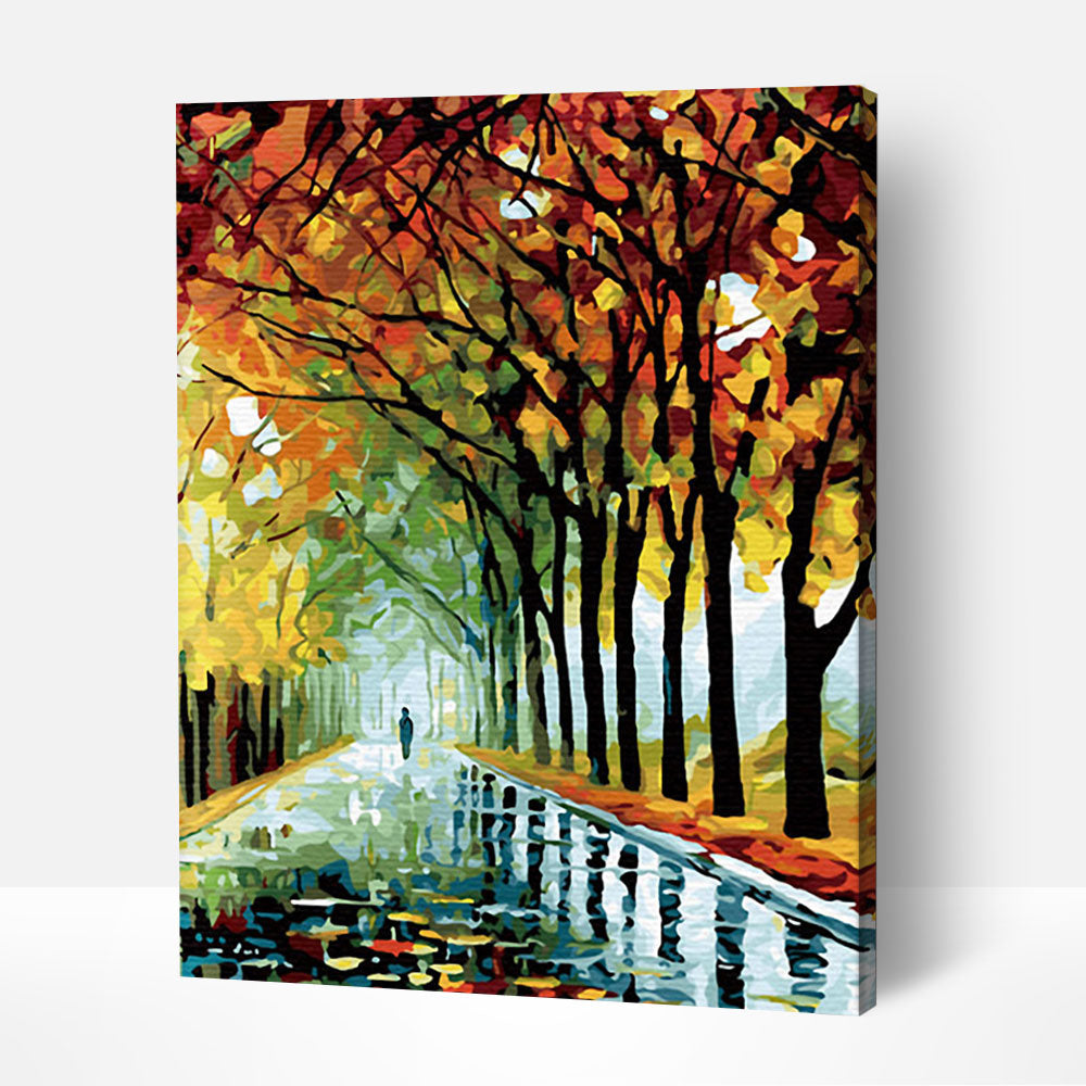 A Walk in Autumn Rain - Paint By Numbers Kit For Adult
