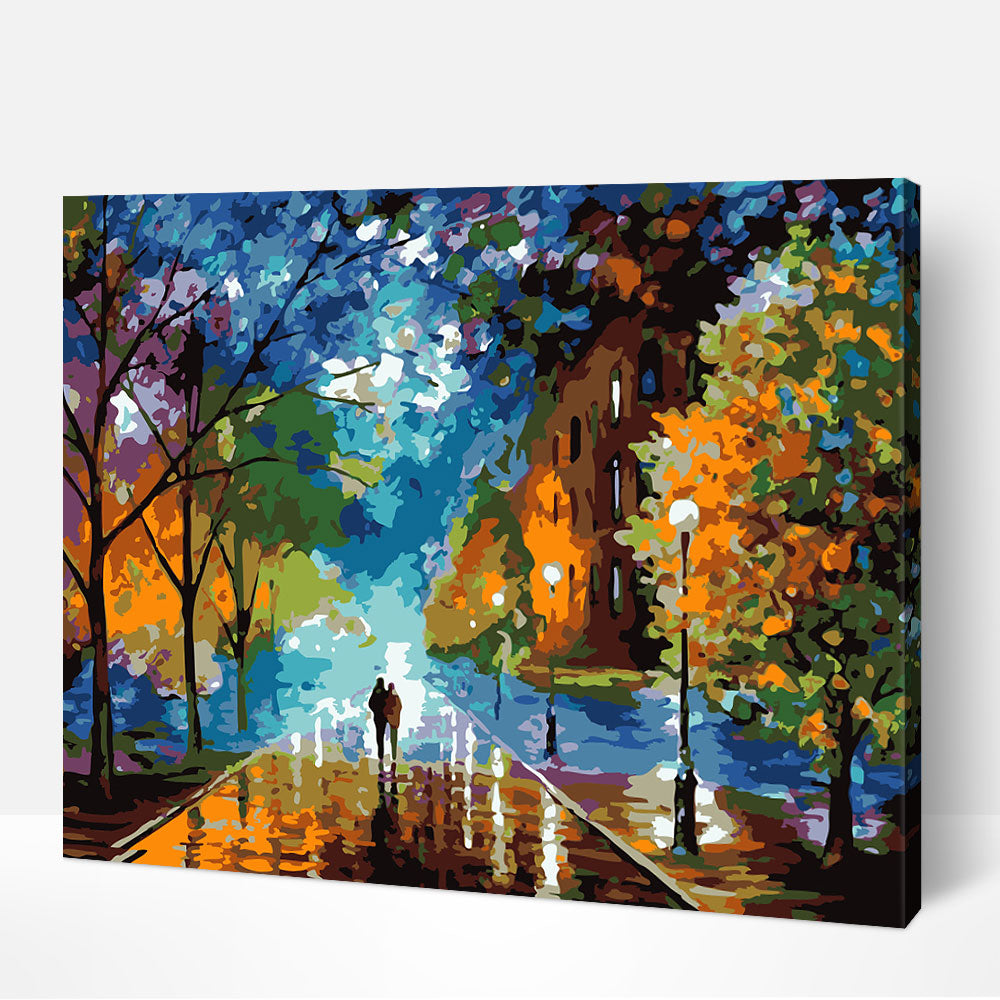 Romantic Walk in the Rain - Paint By Numbers Kit For Adult