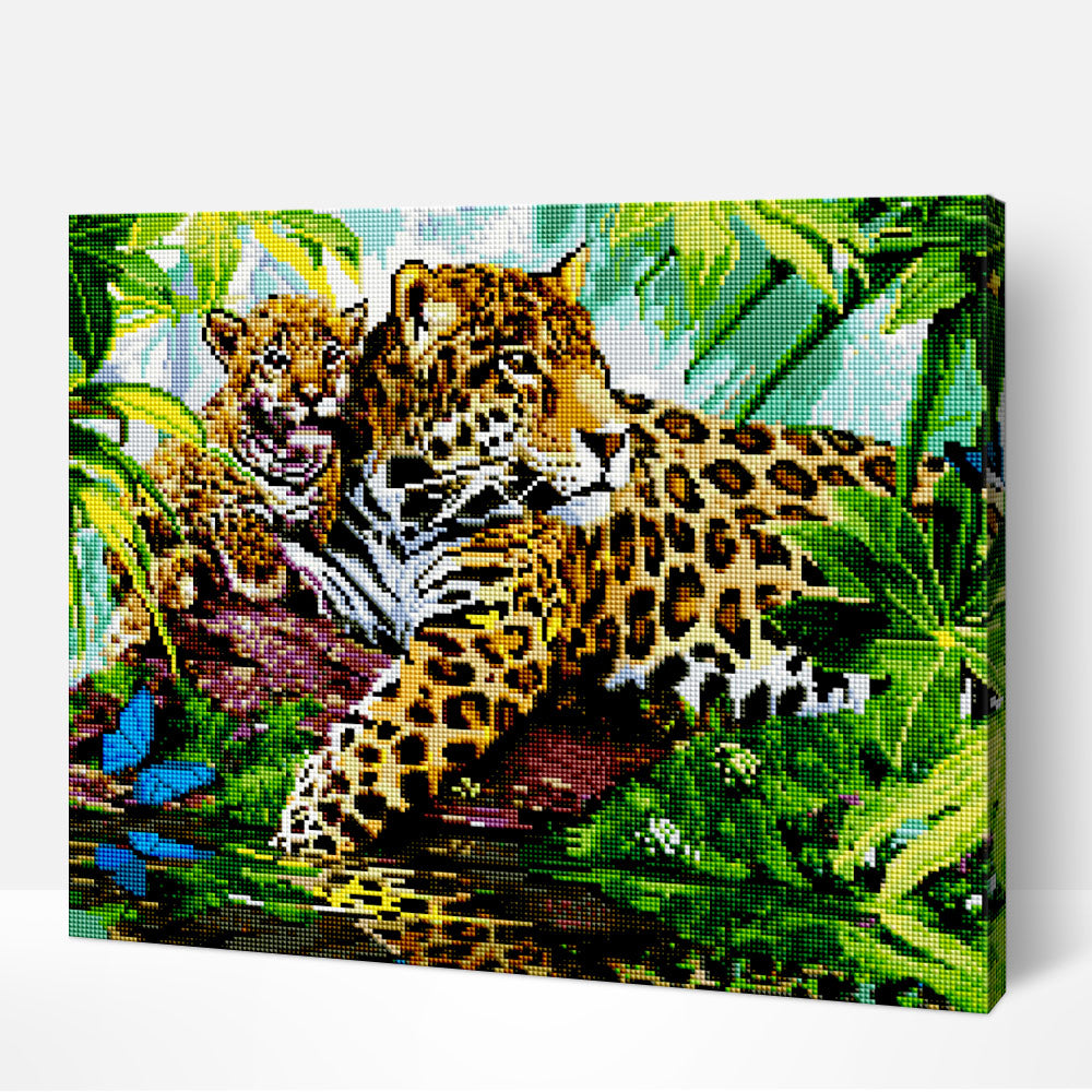 Leopard and Cub  - Diamond Painting