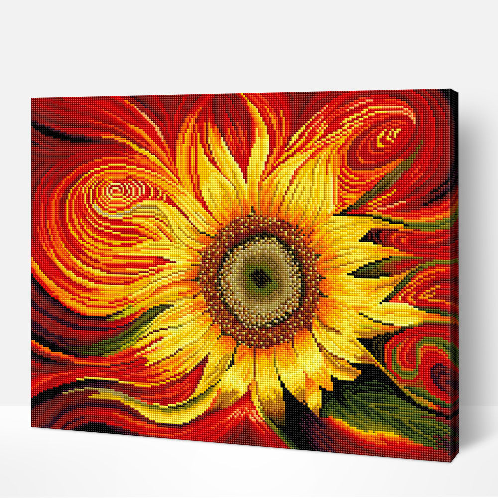 Red Sunflower - Diamond Painting