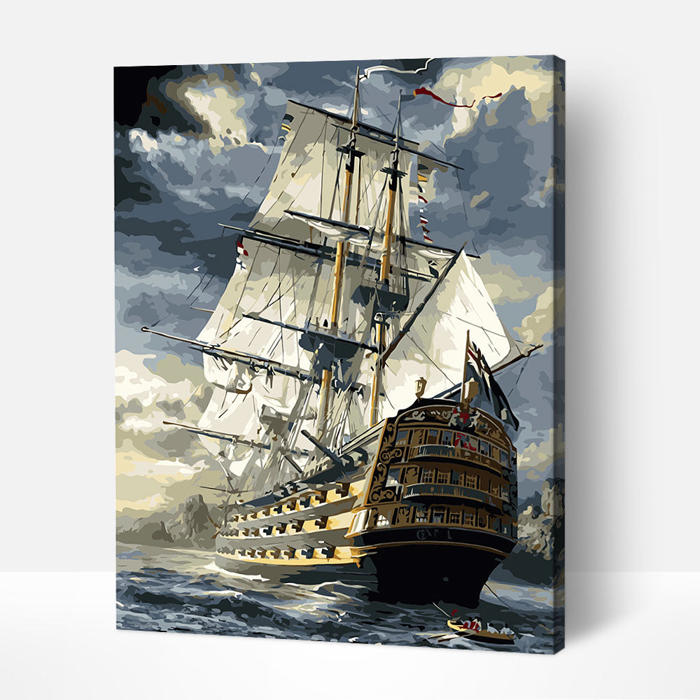 Ship at Stormy Sea - Paint By Numbers Kit For Adult