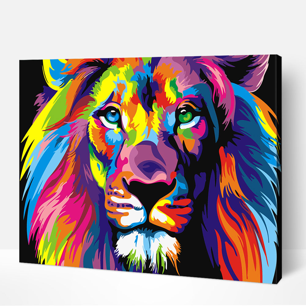 Multi Colored Lion Paint by Numbers
