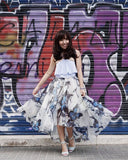 Ethereal butterfly print organza maxi skirt
