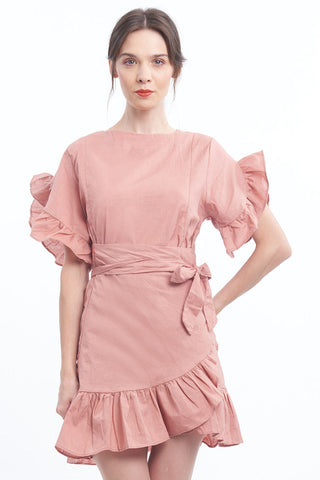 BACKORDER: Blush dramatic ruffle wrap dress