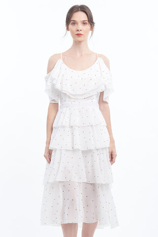 PREORDER: Miniature polka-dot cold-shoulder ruffle dress with tiered skirt