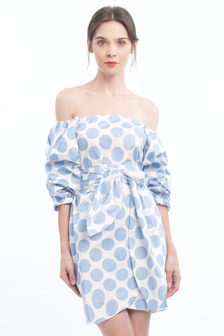 "PREORDER: ""Let's get Ballsy"" off-shoulder balloon-sleeved tulip skirt dress"