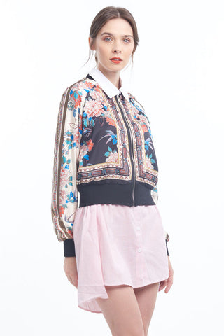 PREORDER: Oriental peony scarf print bomber jacket