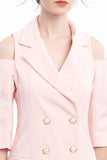 PREORDER: Blush cold-shoulder long blazer with pearl buttons