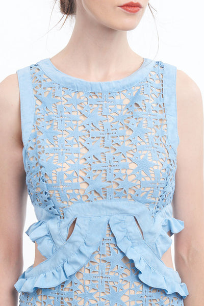 "PREORDER: ""Shooting star"" crochet lace dress with waist-cutouts"
