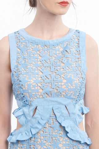 """Shooting star"" crochet lace dress with waist-cutouts"