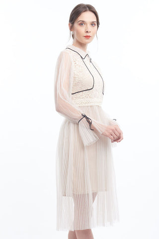 PREORDER: Romantique sheer pleated tulle dress with contrast piping