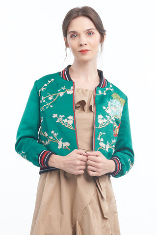 PREORDER: Jade sakura embroidered bomber jacket
