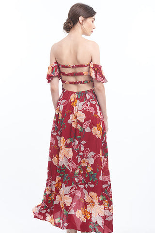 PREORDER: Hibiscus print off-shoulder tulip-skirt maxi dress with strappy back
