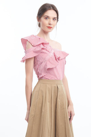 PREORDER: Striped asymmetrical ruffled blouse (Red)