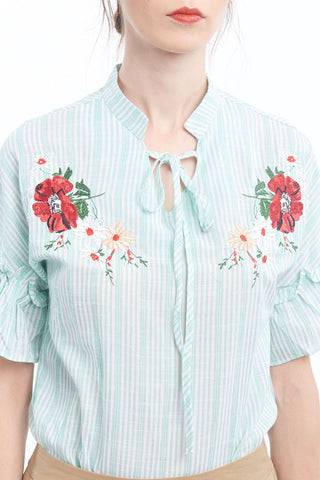 Minty mandarin collar embroidered blouse with flare sleeves