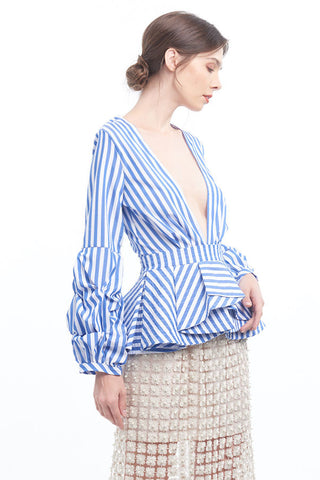 Stripey dramatic peplum blouse with bubble sleeves