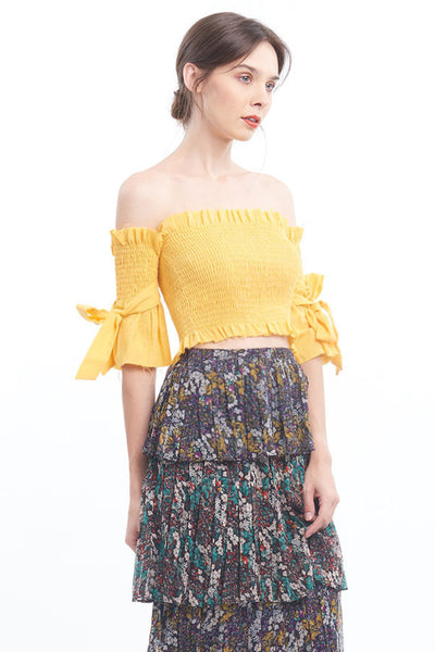 PREORDER: Canary off-shoulder top with bow-tie sleeves