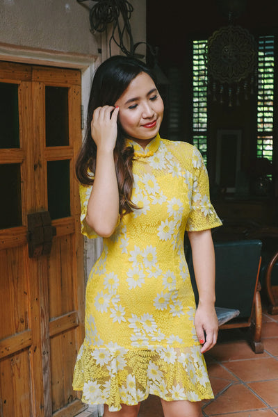 BACKORDER: Canary yellow floral lace qipao with trumpet hem