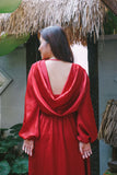 Scarlet silk frilled maxi dress with cowl-back