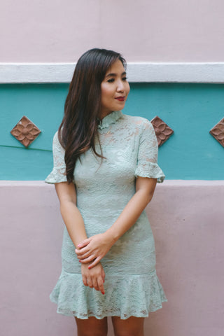 BACKORDER: Sugarmint floral lace qipao with trumpet hem