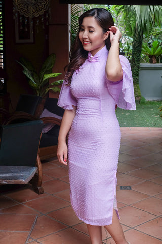 BACKORDER: Lavender polka dot cape-sleeved qipao