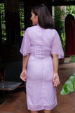 PREORDER: Lavender polka dot cape-sleeved qipao