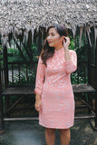 Coral embossed mesh overlay qipao
