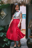 PREORDER: Cherry red satin pleated midi skirt