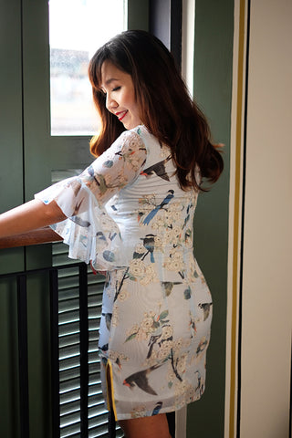 Bell-sleeved sakura and bird print qipao