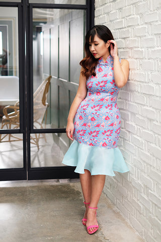 Floral cross-stitch print cheongsam with organza flare hem (Sky blue)