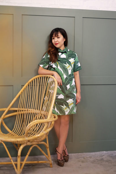 MOM & DAUGHTER: Tropical palm leaf boxy qipao (BACKORDER)