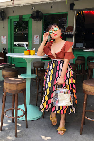 PREORDER: Rainbow mod print pleated skirt