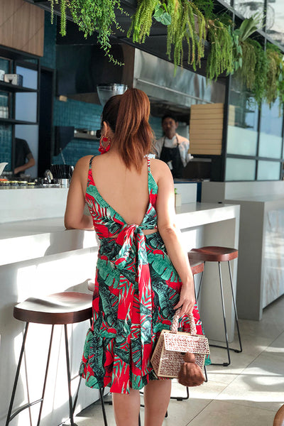 PREORDER: Palm leaf print bow-back dress