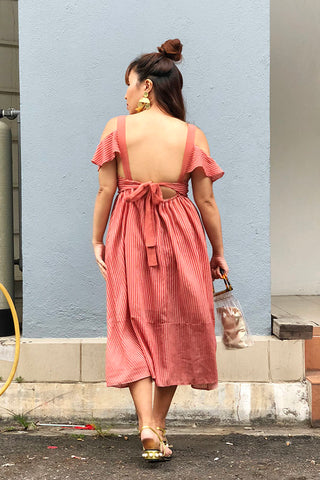 PREORDER: Ruffled cold-shoulder backless linen dress with bow-sash