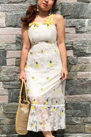 PREORDER: Embroidered pineapple lace dress with ribbon-tie straps