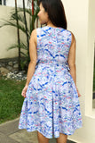 Chinese pagoda print midi dress with bow-sides