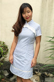 Broderie anglais striped qipao
