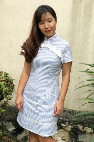 MOM & DAUGHTER: Broderie anglais striped qipao (PREORDER)