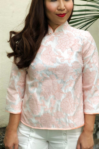 BACKORDER: Amethyst brocade cheongsam blouse with pearl fastenings