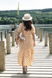 "PREORDER: ""Sunray"" striped wrapover dress with bias ruffle hem"