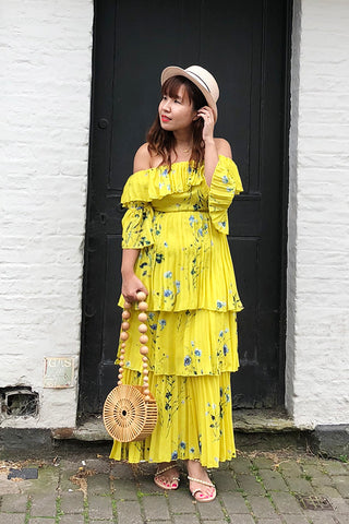 "PREORDER: ""Sun kind wonderful"" pleated off-shoulder maxi dress"