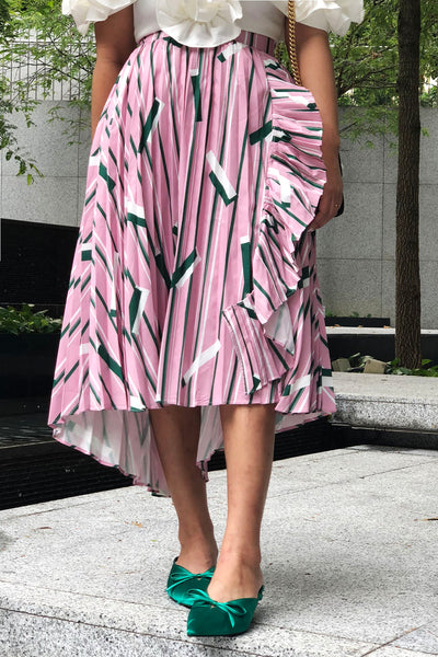 Candy geometric stripey skirt with ruffled edges