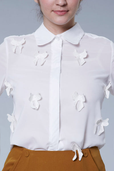 CLEARANCE: Bow appliqué shirt