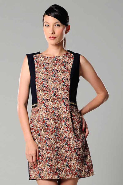 CLEARANCE: Digital print panel dress with exposed zippers