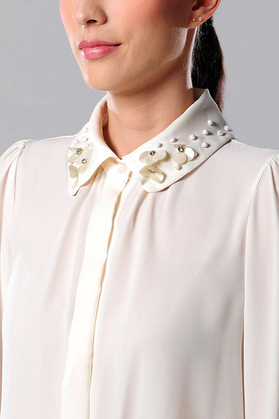 CLEARANCE: 3D flower petal shell collar shirt