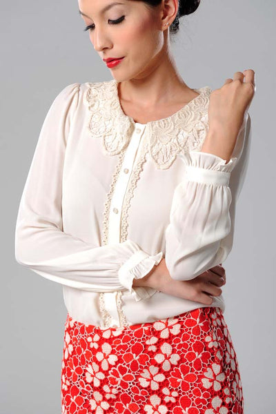 CLEARANCE: Crochet collar blouse with ruffled sleeves