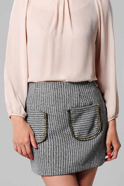 CLEARANCE: Herringbone tweed skirt with gold chainlink pockets