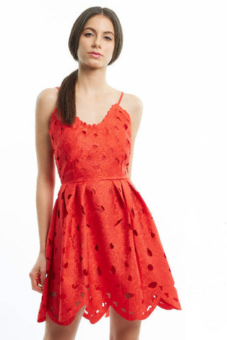 Scarlet laser cutout low-back dress