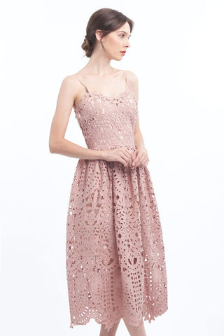PREORDER: Dusk pink intricate cutout crochet lace midi dress